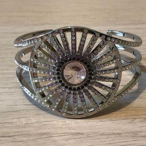Swarovski Cuff Bracelet Rhodium Crystal & Amethyst